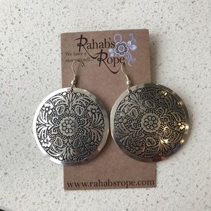 NWT large round silver earrings w design